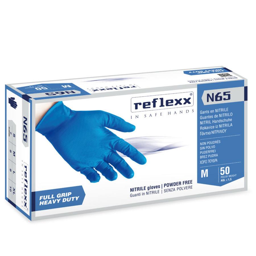 Сверхпрочные резиновые перчатки, нитриловые, синие, Reflexx N65-XL. 6,5 гр. Толщина 0,18 мм. N65-L